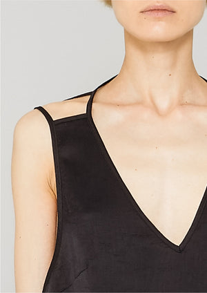 TOP - SPAGHETTI STRAPS BLACK SHINY
