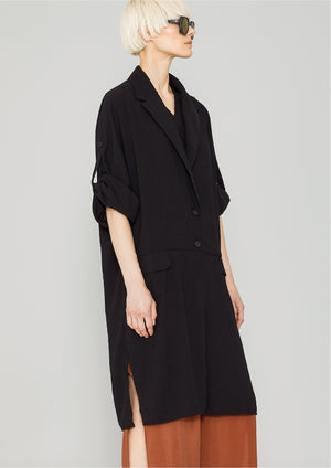 COAT - black crepe - BERENIK