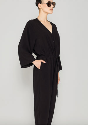 JUMPSUIT-LOOSE/BELT - black plain