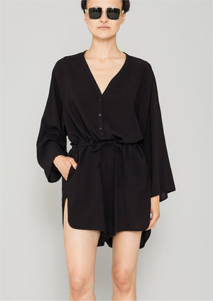 JUMPSUIT SHORT-LOOSE/BELT - black plain