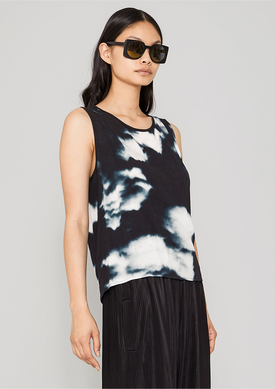 TOP SHORT SLEEVELESS - printed black/white