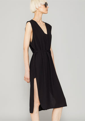 DRESS SLEEVELESS - black plain