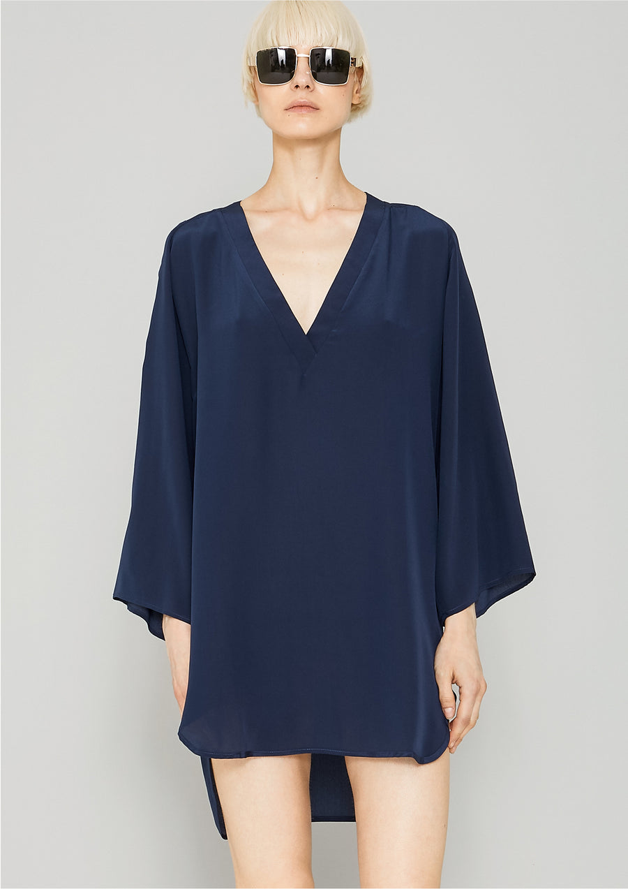 SHIRT/DRESS - SILK dark blue