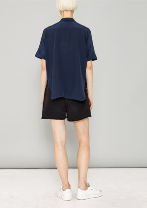 BLOUSE SHORT SLEEVES - SILK dark blue - BERENIK