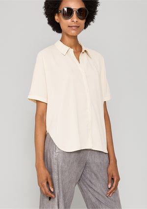 BLOUSE SHORT SLEEVES - THIN DRAPING cream