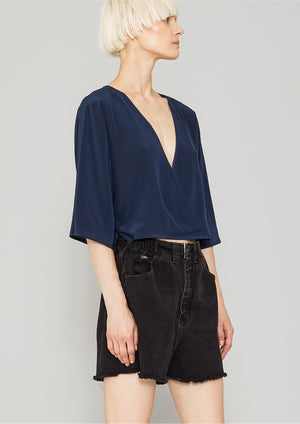 TOP DRAPING - SILK dark blue