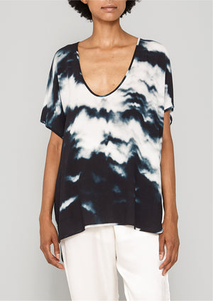 SHIRT SLEEVELESS-V-COLLAR - print black/white