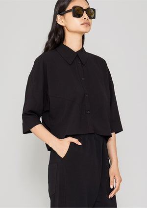 BLOUSE - SHORT SLEEVES - black plain