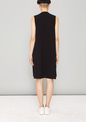 SHIRT/DRESS SLEEVELESS - black plain