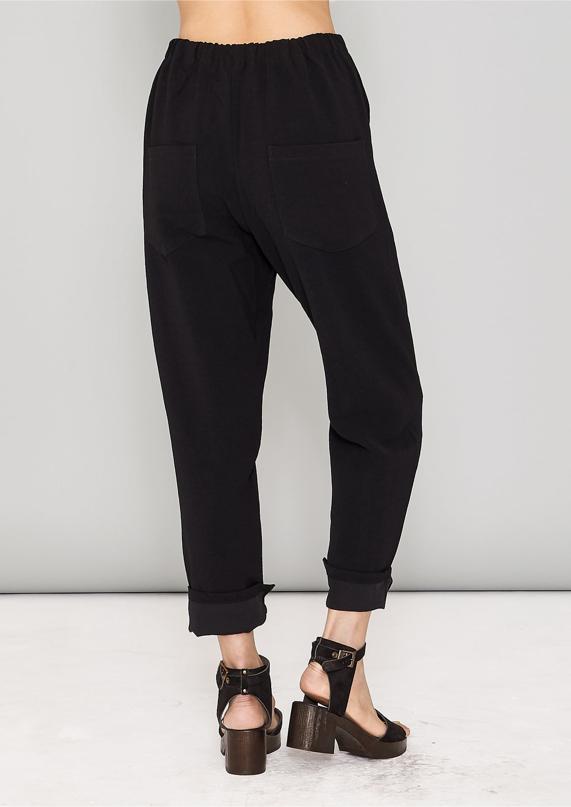 PANTS STRETCH HIGH WAIST - black plain - BERENIK