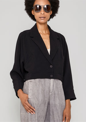JACKET REVERS SHORT - black plain