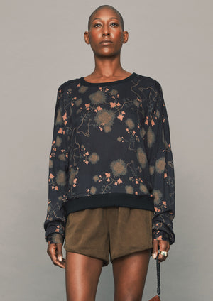 BLOUSE/SWEATER - RAYON printed black/red