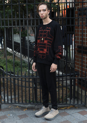 SWEATER OVERSIZED - COTTON JERSEY with mask embroidery red on black