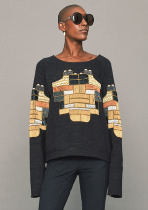 SWEATER - COTTON black/melange with embroidery