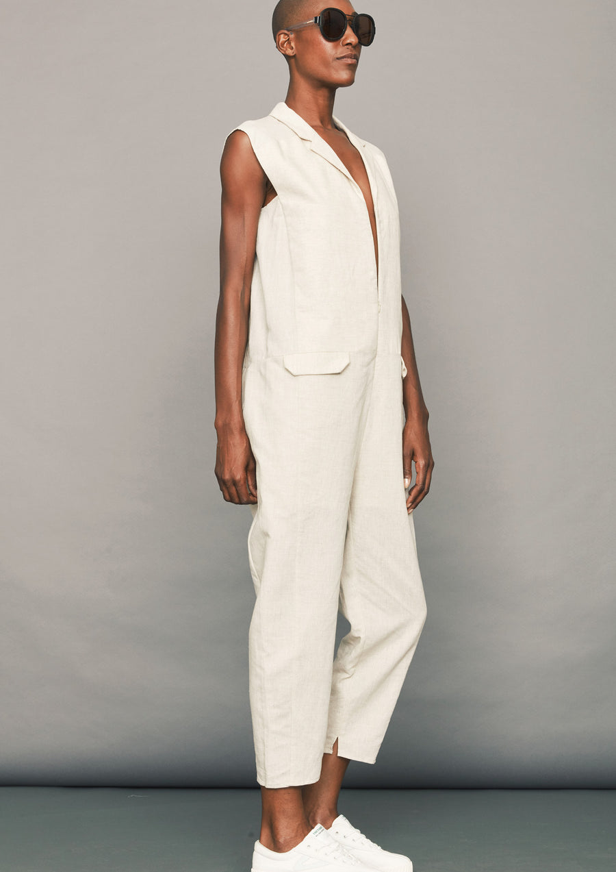 dc14e42021 JUMPSUIT LONG - LINEN natural white