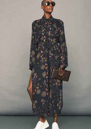 JUMPSUIT WIDE - AIRY SUMMER SILKY RAYON printed black/rust