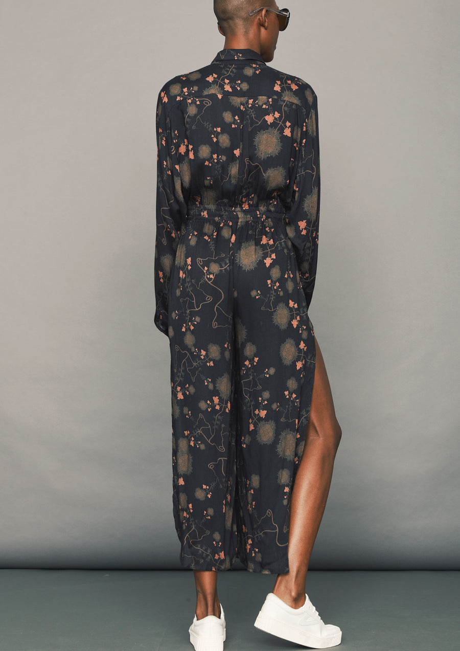 AIRY SUMMER JUMPSUIT WIDE - SILKY RAYON printed black/rust