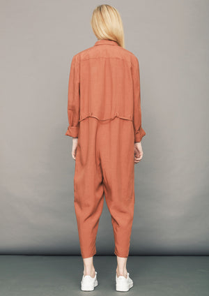 JUMPSUIT REVERS  LONG - Tencel/Linen - brick