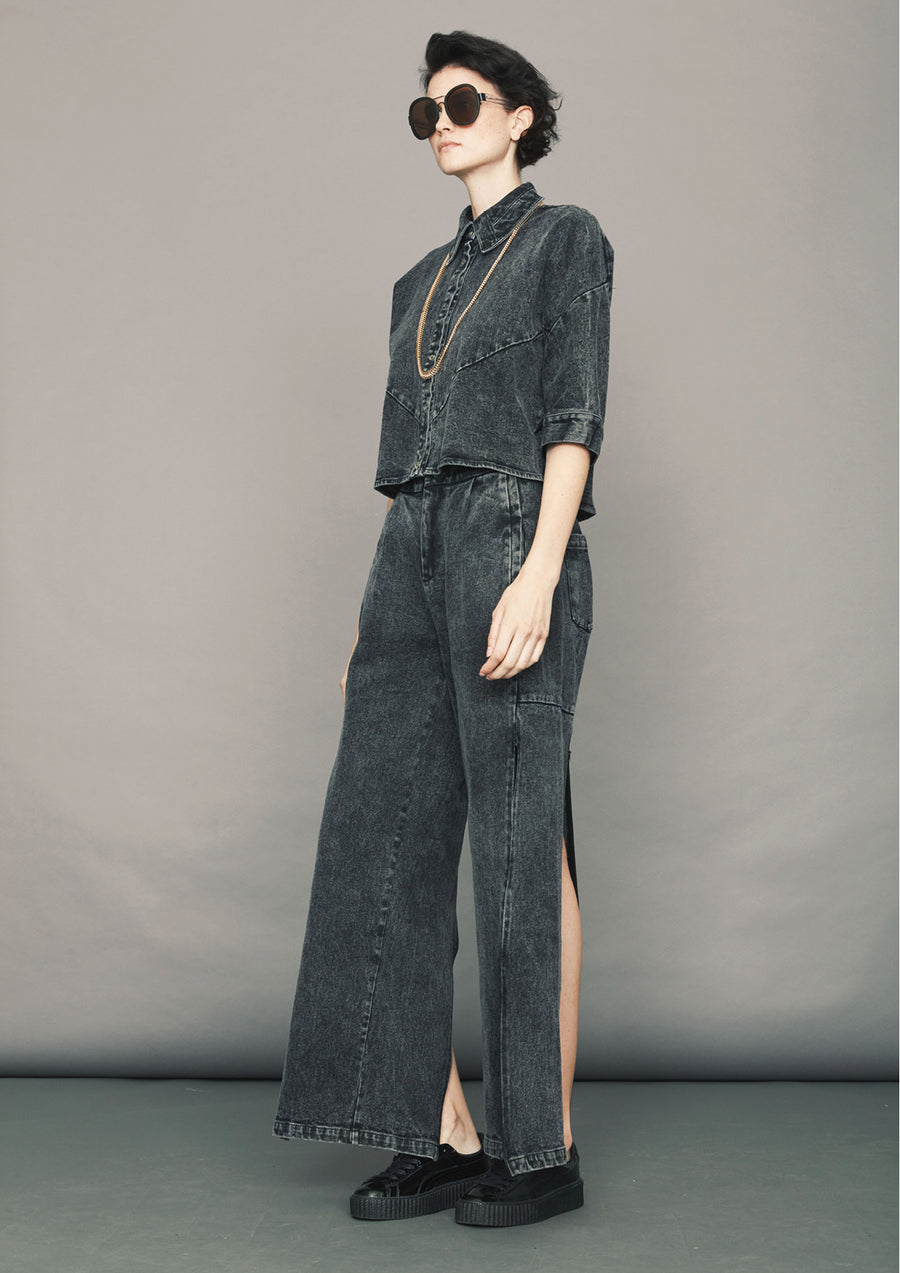 HIGH WAIST WIDE PANTS - DENIM washed black