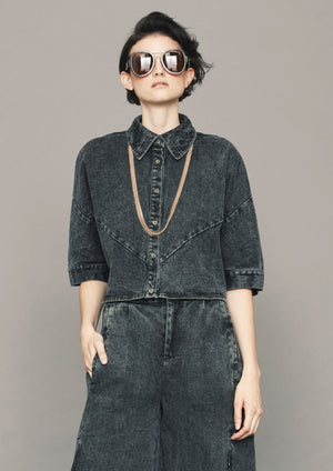 BLOUSE SHORT SLEEVES - DENIM washed black