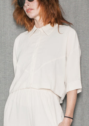 BLOUSE SHORT SLEEVES - creme