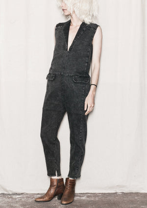 JUMPSUIT REVERS - DENIM washed black