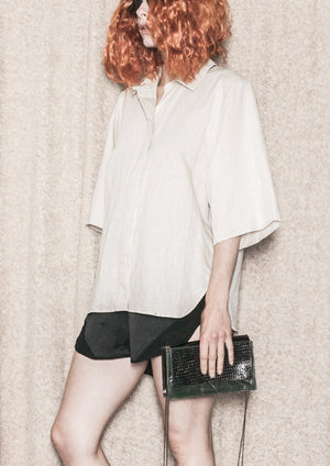 BLOUSE SHORT SLEEVES CONCEALED BUTTONS - LINEN natural white