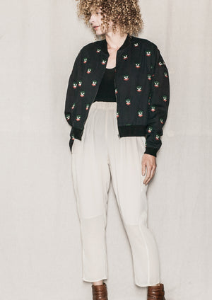 BOMBER JACKET - LINEN black with embroidery - BERENIK