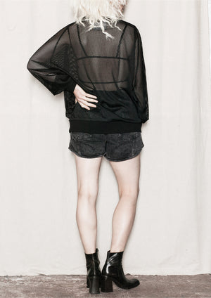 OVERSIZED SUMMER SWEATER - AIRY MESH black