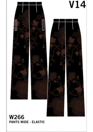 WIDE AIRY SUMMER PANTS - SILKY RAYON printed black/rust