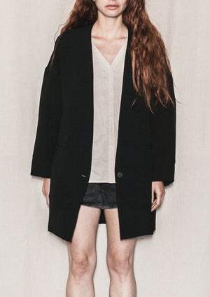 JACKET WITH BUTTON - BOUCLE CREPE black