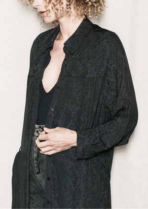 DRESS/CARDIGAN - JACQUARD SATIN black snake