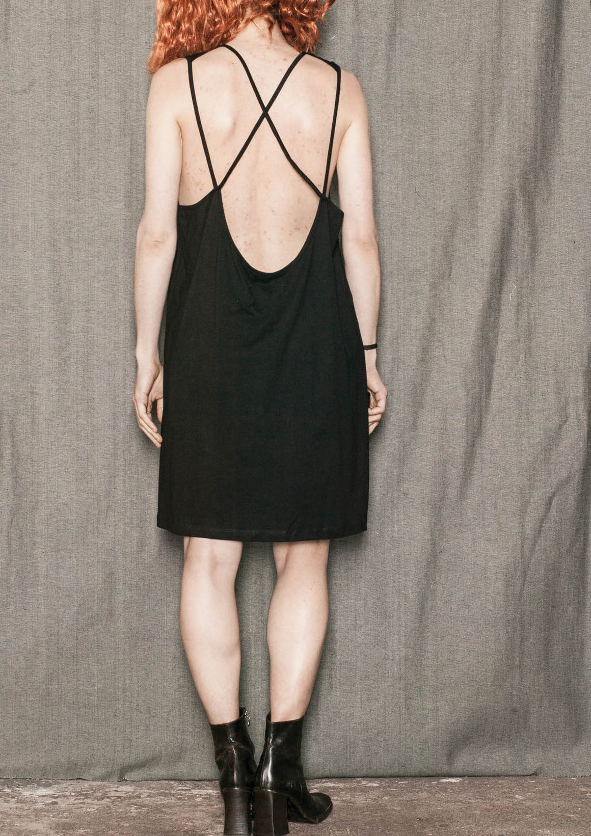 DRESS SPAGHETTI STRAPS - JERSEY black