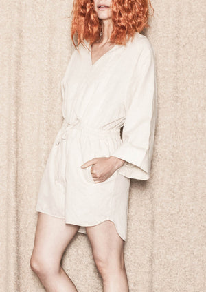 JUMPSUIT SHORT ELASTIC WAIST - LINEN natural white