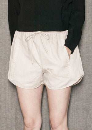 SHORTS ELASTIC WAIST - NATURAL LINEN white