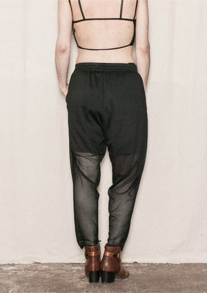 PANTS LOOSE ELASTIC WAIST - MESH black