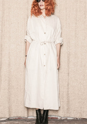 DRESS LONG SUMMER - LINEN natural white