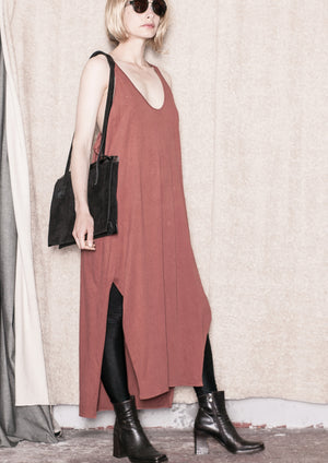 SPORTIVE LONG DRESS - COTTON JERSEY rust