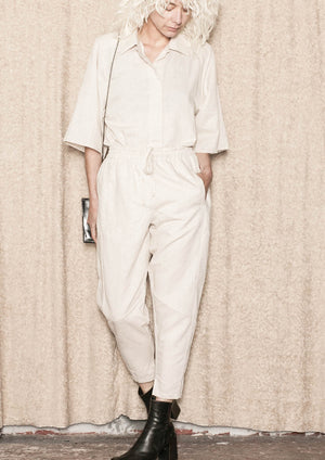 PANTS PATCHWORK - LINEN natural white