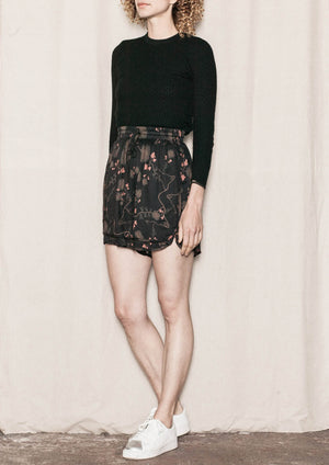 SHORTS WIDE - SILKY RAYON printed black/rust