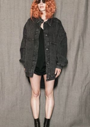 JACKET OVERSIZED - DENIM washed black