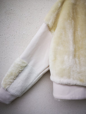 SAMPLE - SWEATER FAUX FUR - Patchwork white
