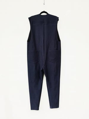 SAMPLE - JUMPSUIT SLEEVELESS ZIP - JACQUARD STRETCH dark blue