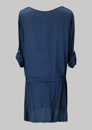 DRESS ROLLUP SLEEVES - SILK dark blue