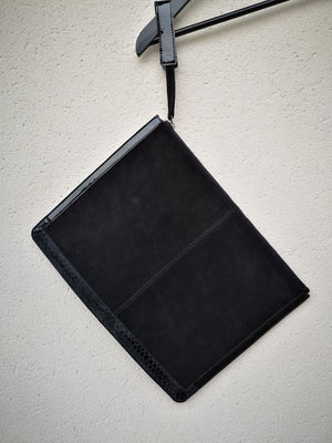 SAMPLE - LAPTOP CASE - LEATHER SUEDE black