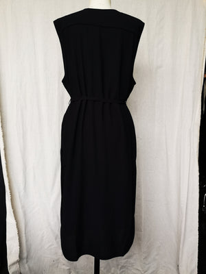 SAMPLE - DRESS WITH BELT - black plain