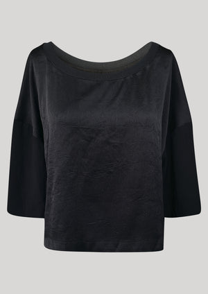 T-SHIRT FEMALE BLACK SHINY/MATT