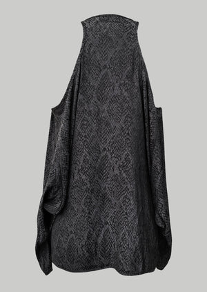 TOP CUT OUT - JACQUARD SATIN black snake - BERENIK