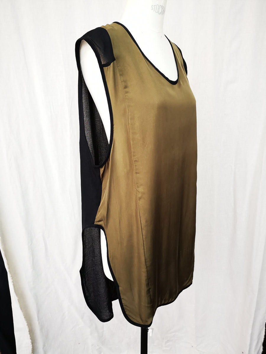 SAMPLE - TOP LONG SLEEVELESS - PATCHWORK khaki/black