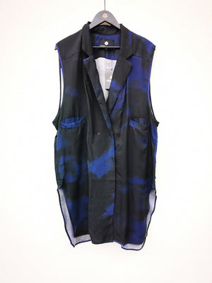 SAMPLE - VEST - CUPRO printed blue